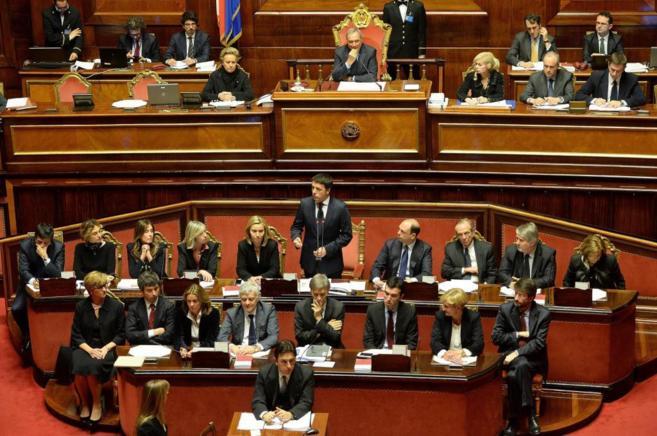 Matteo Renzi, durante su intervención ante el Senado.