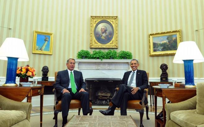 Obama se reúne con el presidente de la Cámara de Representantes,...