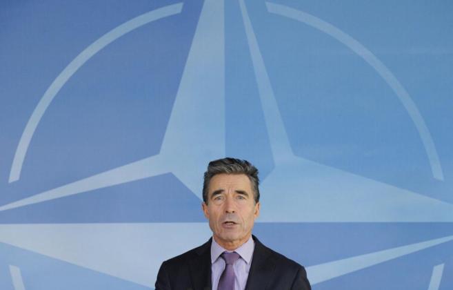 El secretario general de la OTAN, Anders Fogh Rasmussen, durante una...
