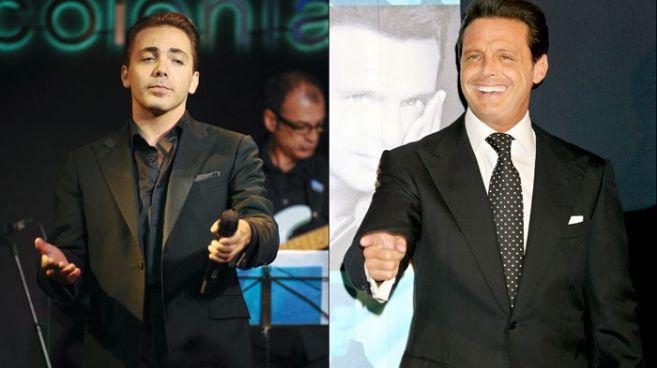 Los cantantes Christian Castro (i) y Luis Miguel (d).
