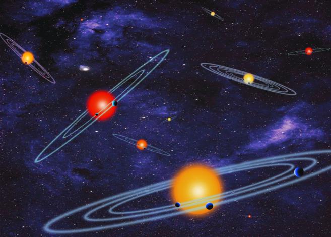 Recreación artística de varios sistemas solares con múltiples...