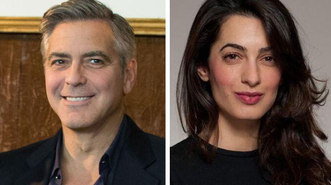 El actor George Clooney y su nueva pareja, la abogada Amal Alamuddin