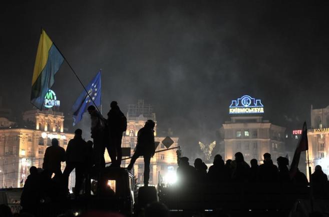 La plaza de lndependencia (Maidán), bastión de las protetas, en...