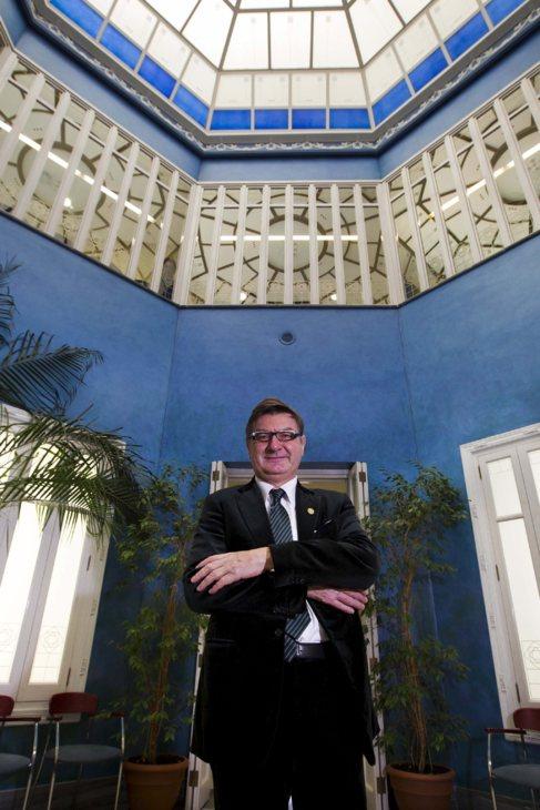 El presidente de Geox, Mario Moretti, en una visita reciente a...