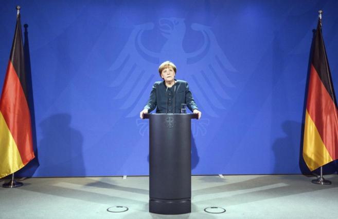 La canciller Angela Merkel, en una conferencia de prensa en Berlín