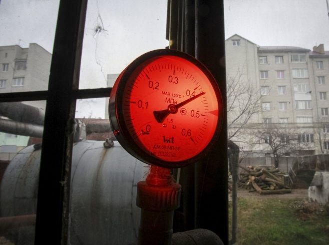 Una válvula de presión en una caldera de la ciudad ucraniana de...
