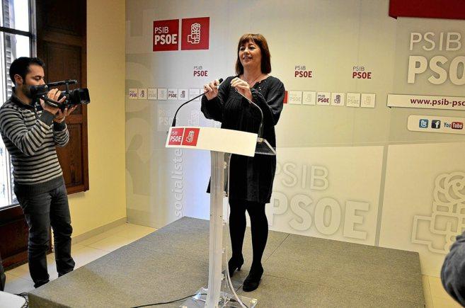 Francina Armengol durante la presentación de su candidatura a las...