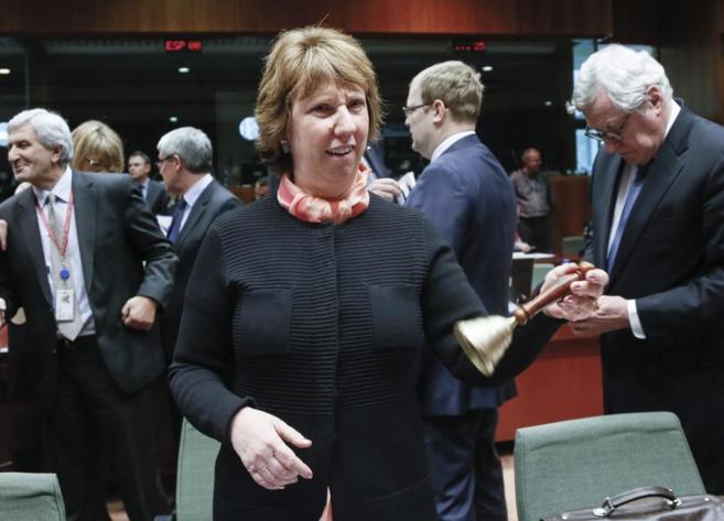 La jefa de la diplomacia, C. Ashton en el Consejo extraordinario de...