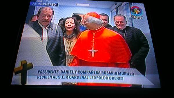Imagen tomada del Canal 6 de Nicaragua que muestra a Daniel Ortega...