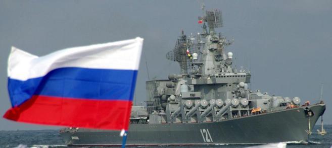 El buque lanzamisiles ruso 'Moskva' entra en la bahía de...