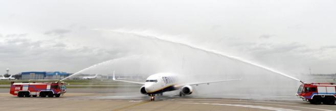 Un avión de Ryanair en Bruselas.