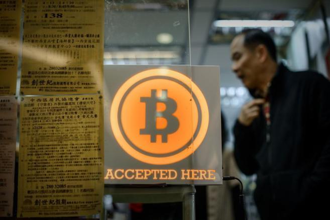Una tienda de bitcoins en Hong Kong.