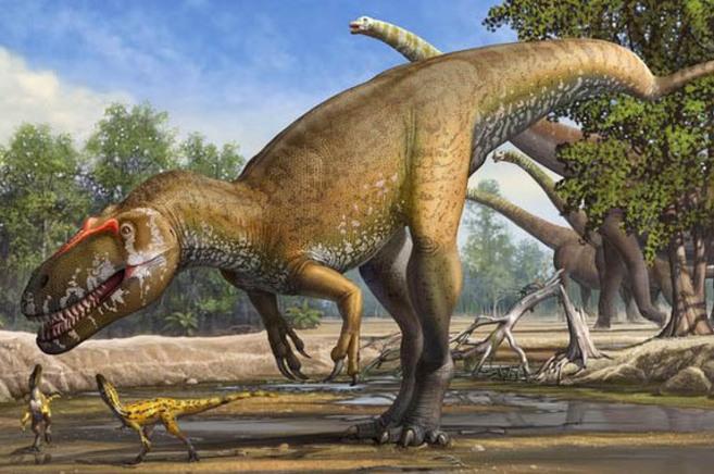 Recreación del ejemplar Torvosaurio gurneyi