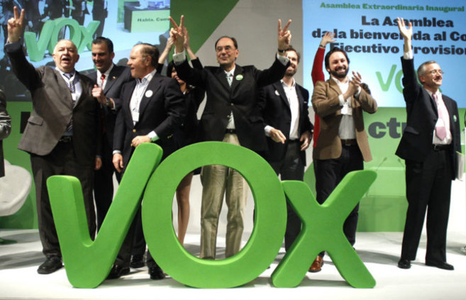 Representantes de Vox en la asamblea celebrada en Madrid.