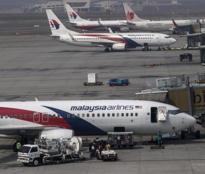 Varios aparatos de la compañía Malaysia Airlines en Kuala Lumpur.