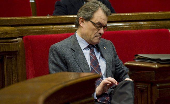 El presidente de la Generalitat, Artur Mas, en el Parlament de...