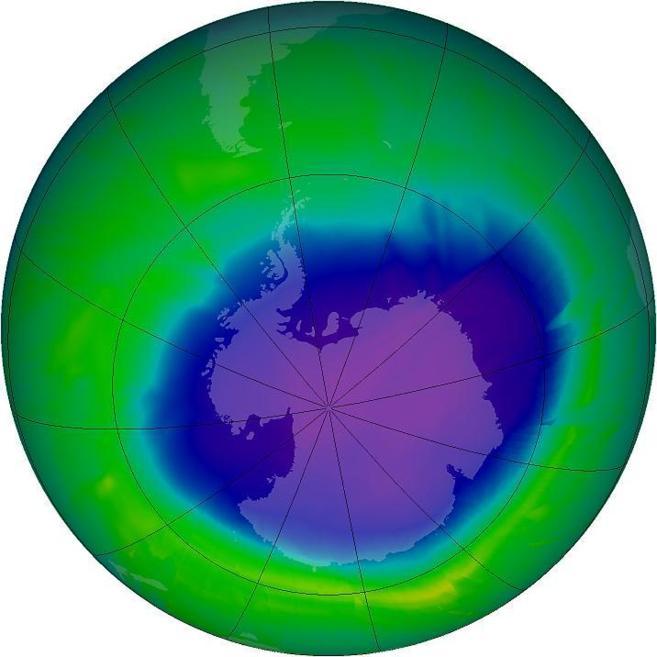 Recreación del 'agujero' en la capa de ozono sobre la...