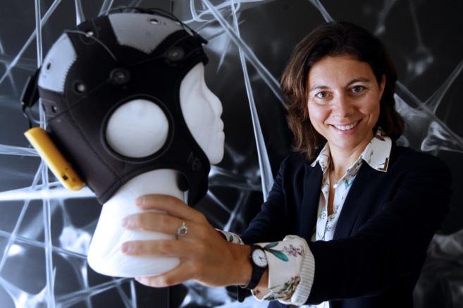 Ana Maiques, la impulsora de Starlab, con su casco enobio, en...