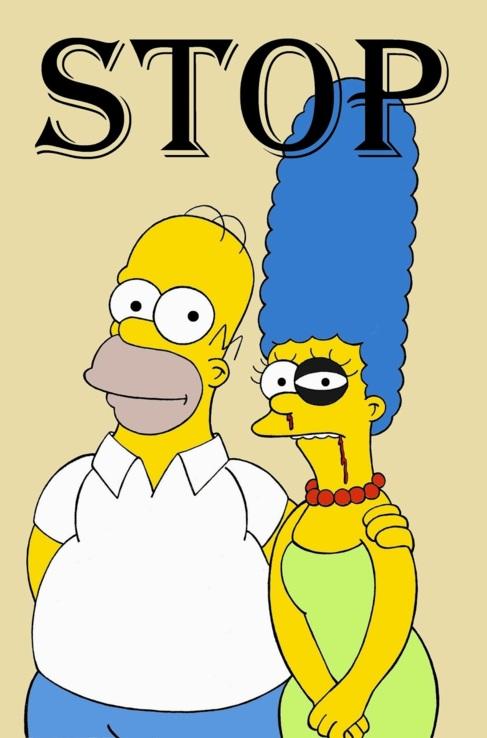 Homer y una Marge Simpson con el ojo amoratado. Es una de las...