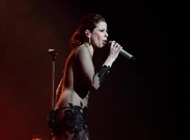 La cantante Pastora Soler, durante un concierto en Jaén.