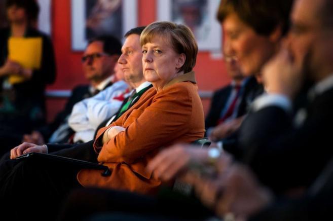 La canciller alemana Angela Merkel, durante un 'think tank'...