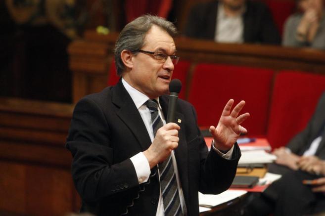 El president Artur Mas, en una comparecencia en el Parlament