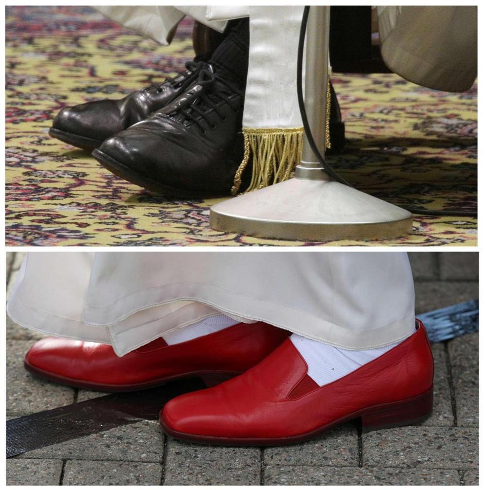 Desde el primer momento, el Papa Francisco imprimió un nuevo estilo totalmente distinto al de su antecesor. Los zapatos se convirtieron en uno de los símbolos. Los zapatos gastados de cordones de Jorge Mario Bergoglio contrastaban con los zapatos rojos de lujo de Benedicto XVI.