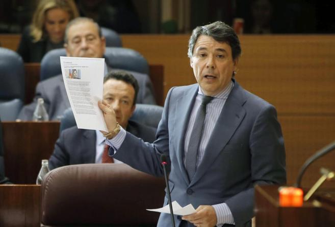 Ignacio González, en una intervención en la Asamblea de Madrid,