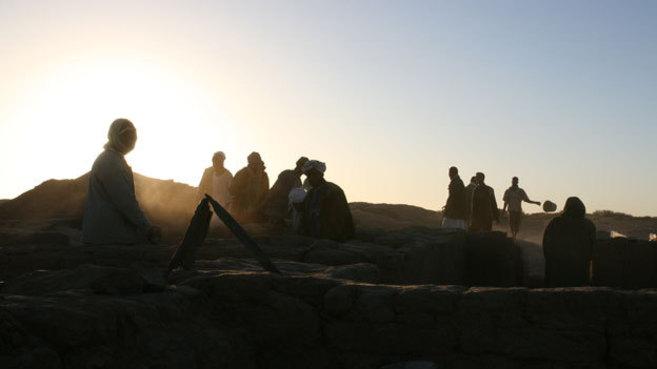 Excavación en Amara Occidental donde se halló el esqueleto.
