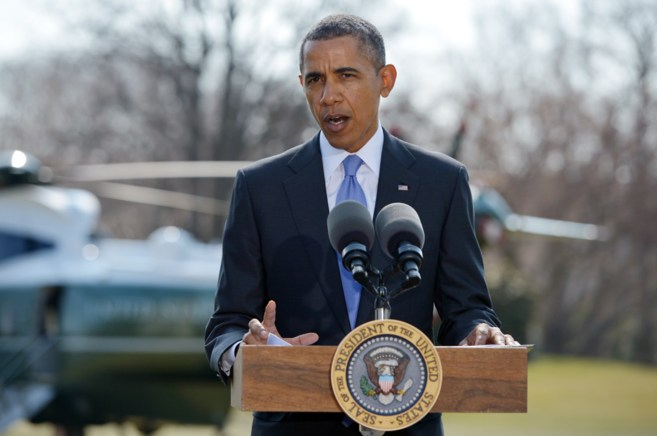 El presidente estadounidense, Barack Obama,  en los jardines de la...