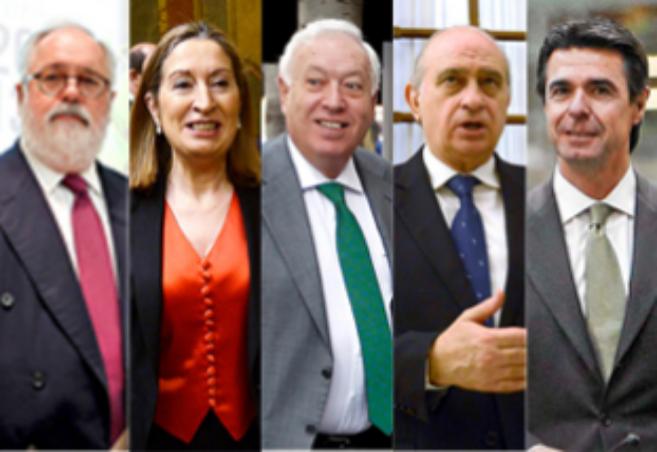 Los miembros del G-5: Arias Cañete, Ana Pastor, García-Margallo,...