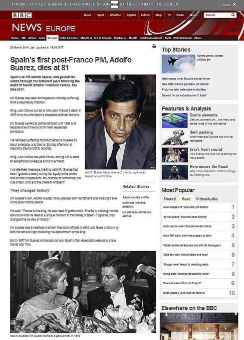 La BBC informando de la muerte de Adolfo Suárez. Prensa extranjera