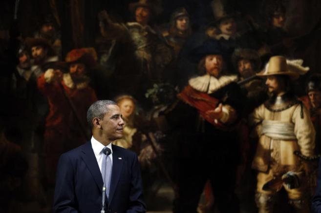 Barack Obama, ante la célebre obra de Rembrandt en el...