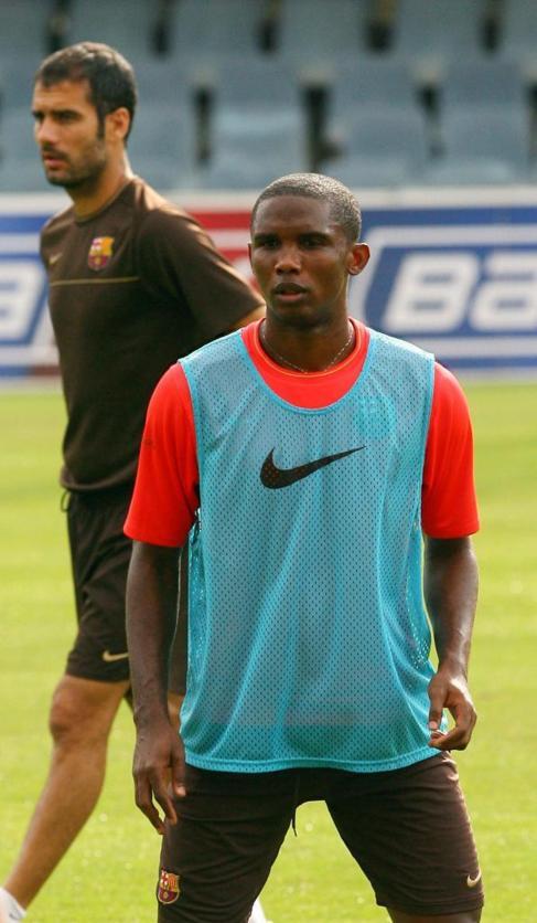 Eto'o y Guardiola en una imagen de 2008.