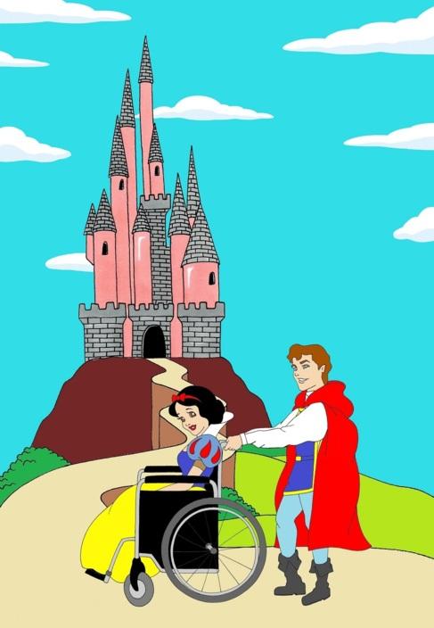 Blancanieves en silla de ruedas empujada por el Príncipe.