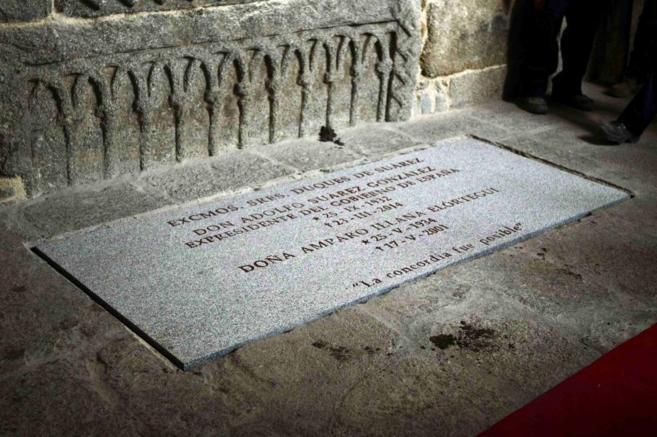 La tumba de Adolfo Suárez y Amparo Illana en la catedral de Ávila.