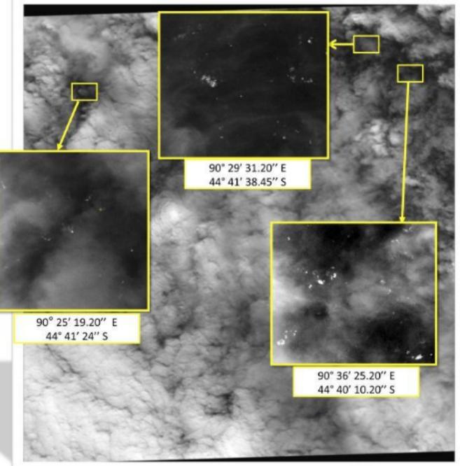 Una de las imágenes de satélite con los más de 120 objetos...