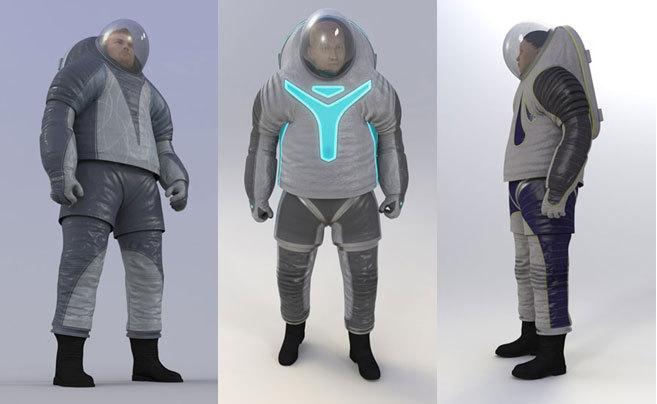 Las tres opciones de la NASA para trajes de los colonos de Marte.