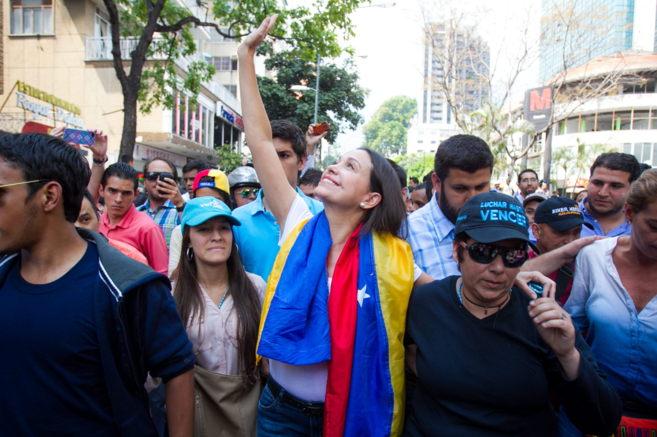 La diputada opositora venezolana María Corina Machado, a su llegada a...