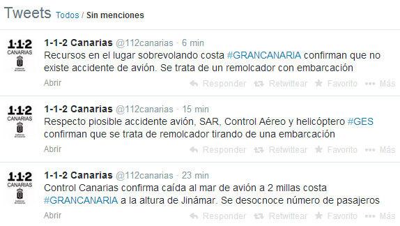 Accidente aéreo en Gran canaria, falsa alarma del 112 Canarias