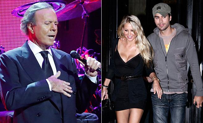 Julio Iglesias y su hijo Enrique con Anna Kournikova, en sendas...