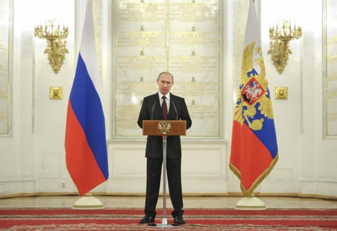 El presidente ruso, Vladimir Putin, durante una rueda de prensa en el...