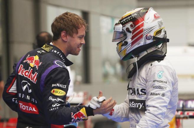 Sebastian Vettel y Lewis Hamilton
