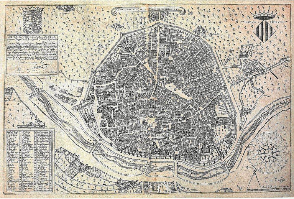 EL PRIMER PLANO, DE 1695. Descubierto hace tres décadas, el plano elaborado por Antonio Mancelli es el más antiguo de Valencia que consta en los archivos municipales.
