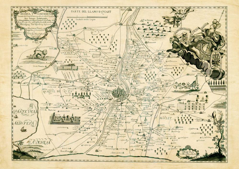 'HUERTA Y CONTRIBUCIÓN DE LA CIUDAD DE VALENCIA (1695)'. Un ejemplar único que ha sido reeditado por la Societat Bibliogràfica Valenciana 'Jerónima Gales'  y que fue buscado en vano por las tropas del emperador Napoleón Bonaparte.