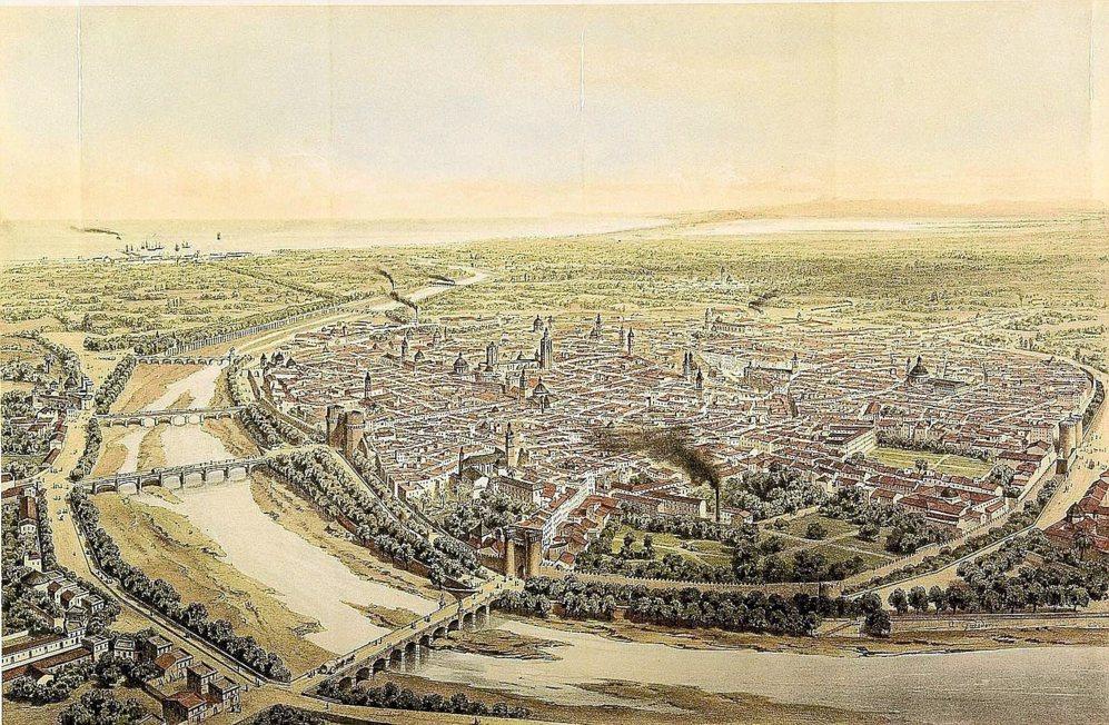 PANORÁMICA EN 1858. La panorámica, realizada por Alfred Guesdon, aunque no constituye un plano, sí ofrece una fotografía de la ciudad en 1858.