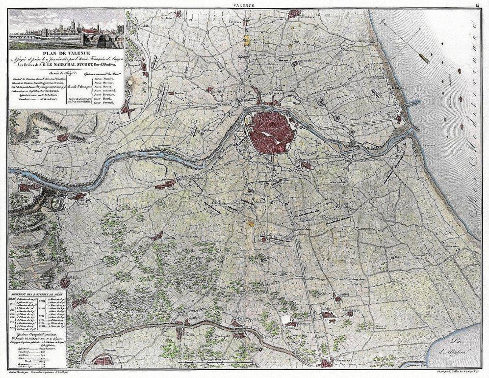 LA APORTACIÓN FRANCESA. La ocupación francesa de la ciudad dejó aportaciones como la elaboración de hasta siete documentos cartográficos. Uno de los más conocidos es el de mariscal Suchet datado en 1812.