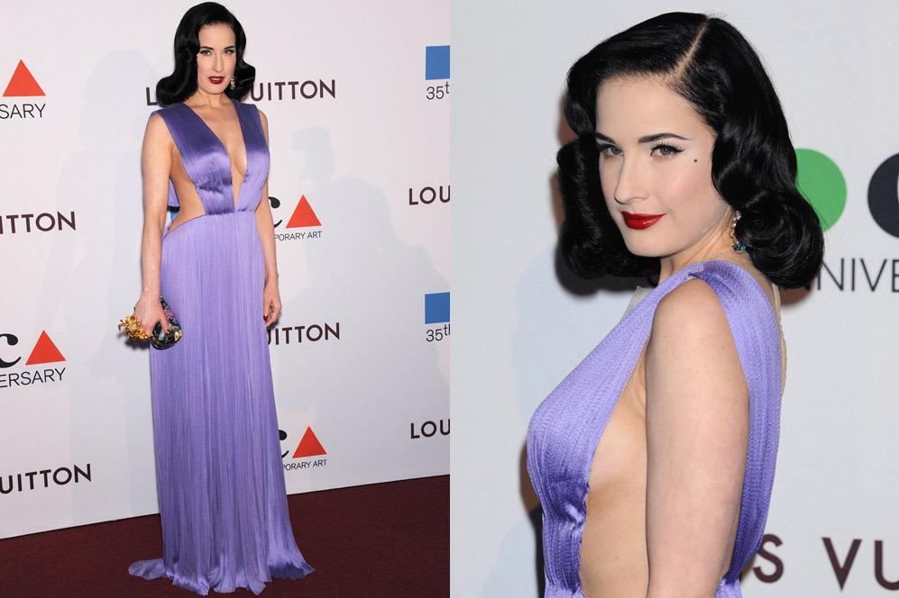 Dita Von Teese eligió este vestido de color lila para acudir a la...
