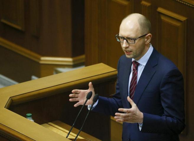 El primer ministro ucraniano, Arseni Yatseniuk, en el Parlamento...