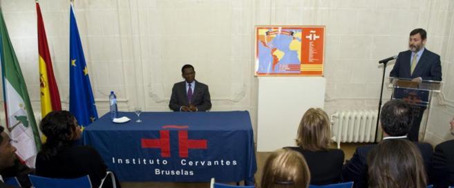 Teodoro Obiang, durante un acto en el Instituto Cervantes de Bruselas.